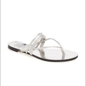 Vince Camuto Silver Evora Crystal Sandals 8